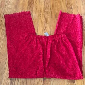 JCrew Easy Pant in Red Lace